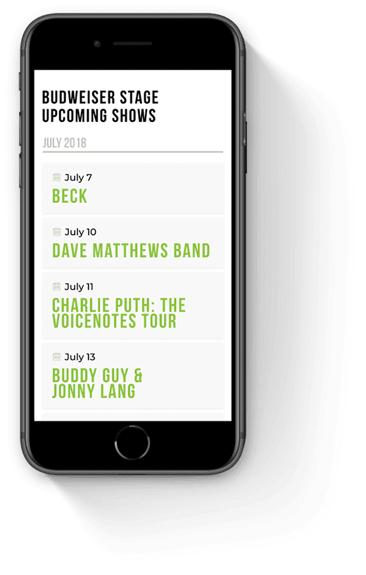 Upcoming Shows Page Mobile