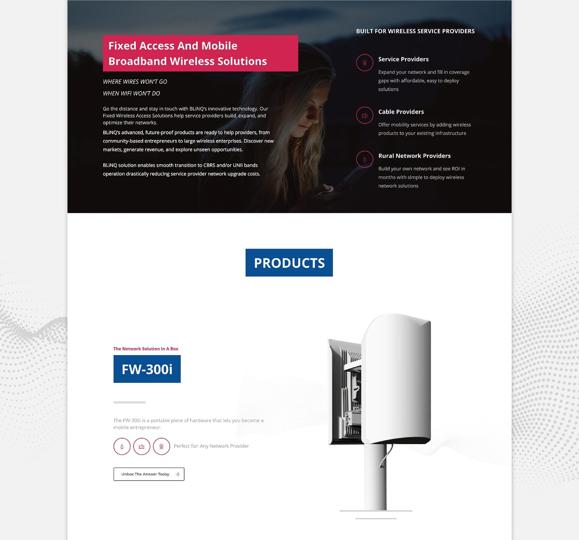 blinq networks homepage -