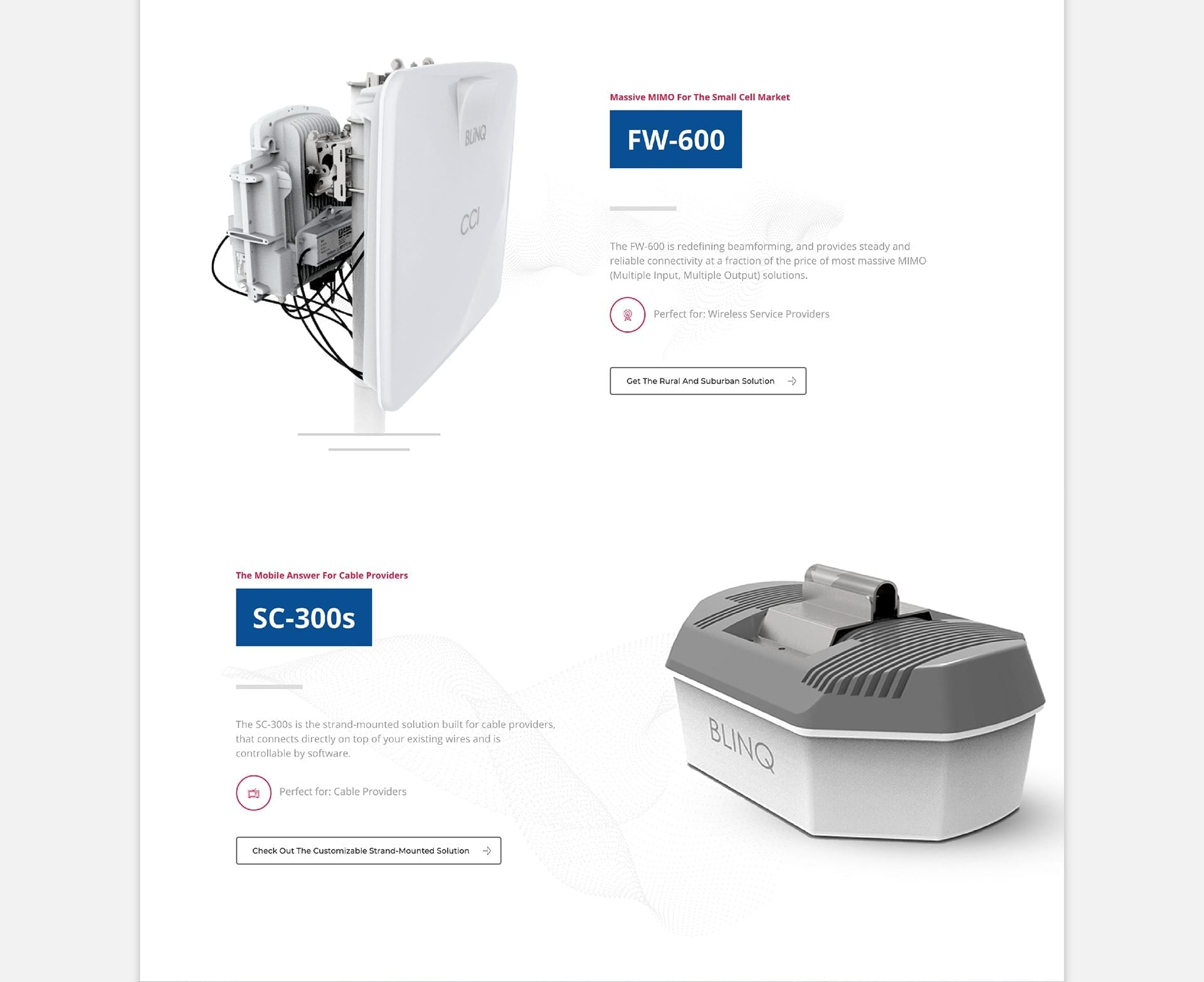 blinq networks homepage - products section fw600 and sc300s