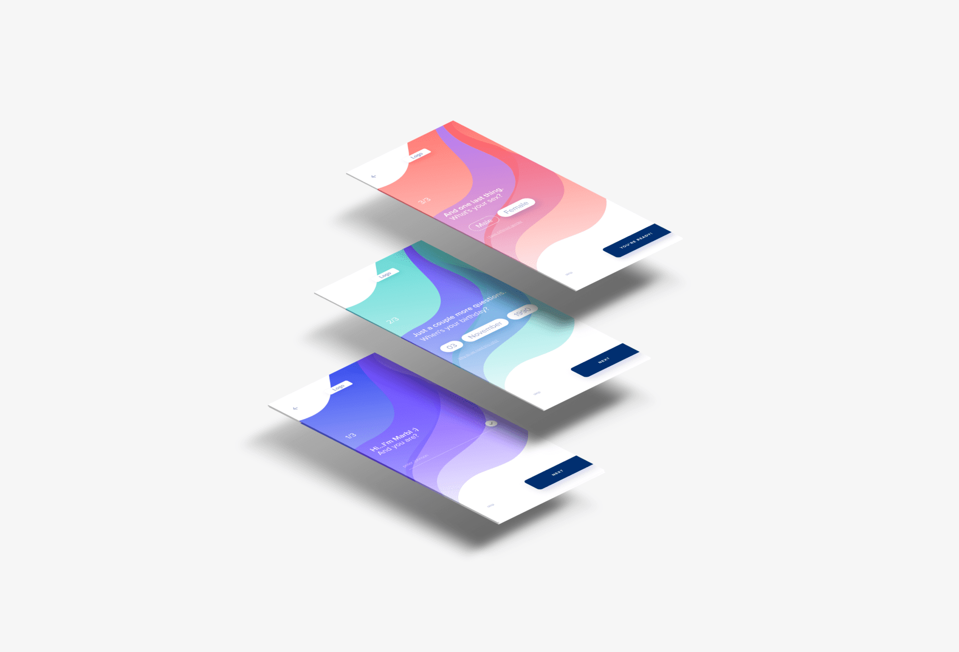 a graphic of three iphone app screens layered on top of each other with marbl app onboarding screens