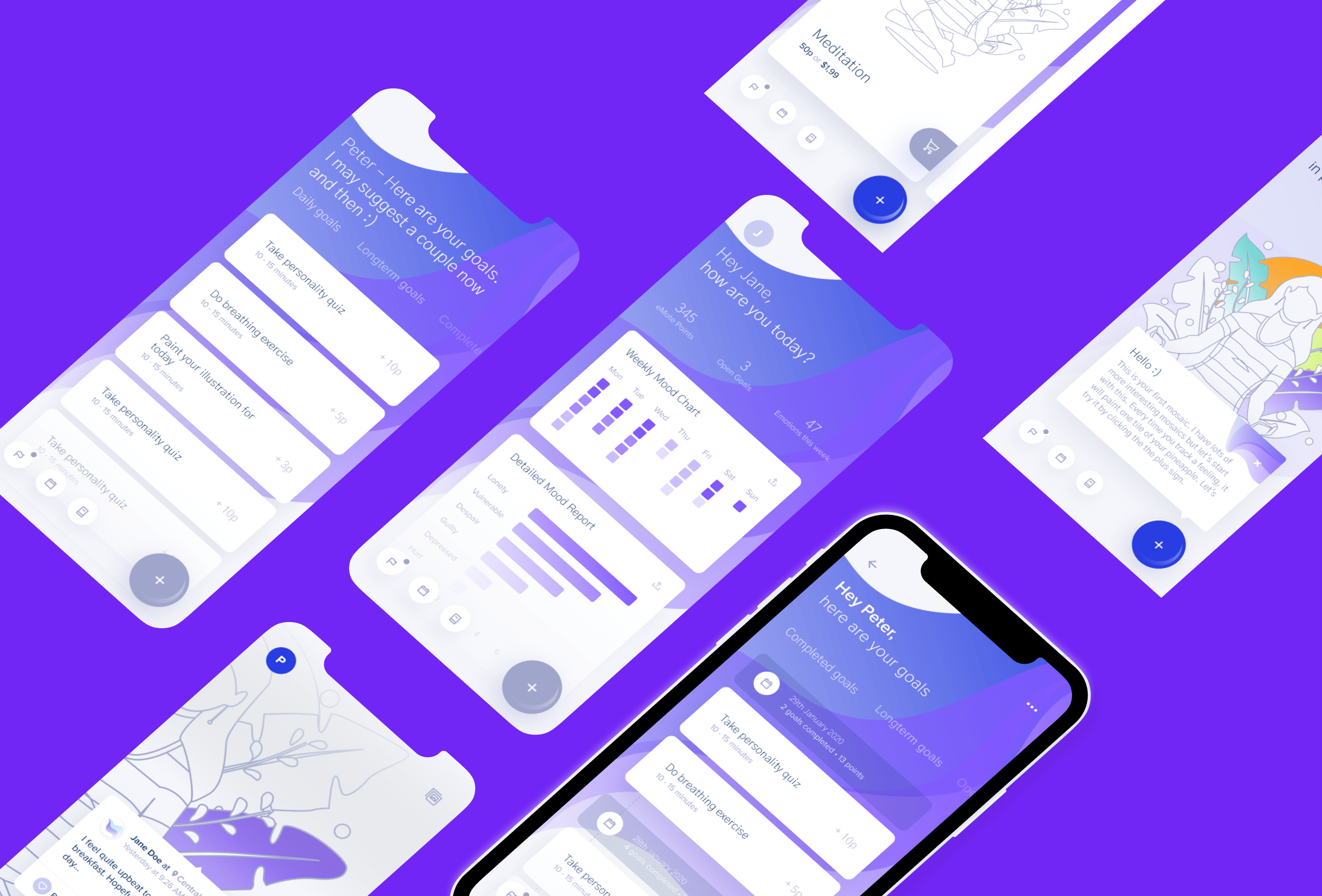 iPhone X models lined up in masonry style with marbl mood tracking app, mood report screens on display, purple colour scheme and background